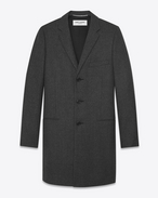 SAINT LAURENT Coats U CHESTERFIELD coat with pointed lapels in anthracite flannel f