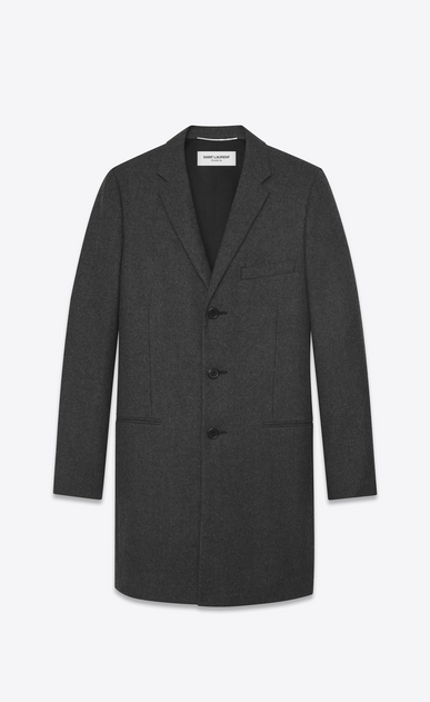 SAINT LAURENT Coats Man CHESTERFIELD coat with pointed lapels in anthracite flannel a_V4