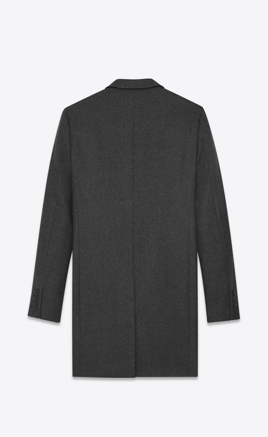 SAINT LAURENT Coats Man CHESTERFIELD coat with pointed lapels in anthracite flannel b_V4