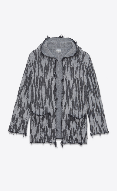 SAINT LAURENT Knitwear Tops Man Baja cardigan with ikat motifs in black and white jacquard a_V4