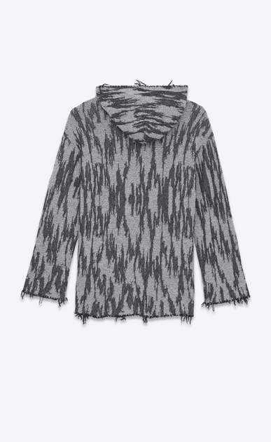 SAINT LAURENT Knitwear Tops Man Baja cardigan with ikat motifs in black and white jacquard b_V4
