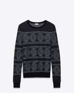 SAINT LAURENT Knitwear Tops U Round neck sweater in black and white jacquard f