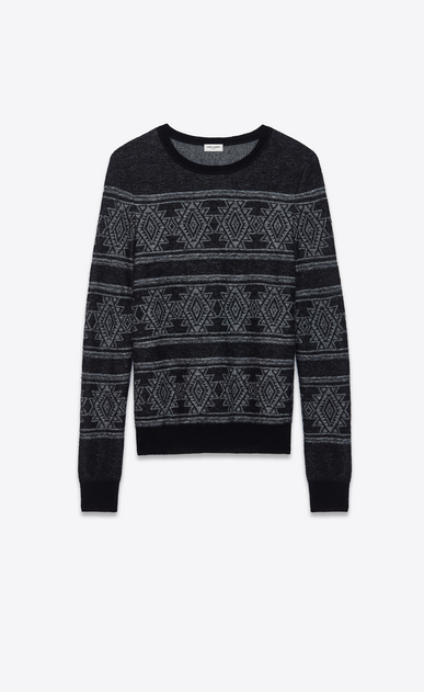 SAINT LAURENT Knitwear Tops Man Round neck sweater in black and white jacquard a_V4