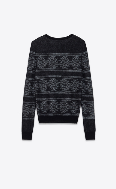 SAINT LAURENT Knitwear Tops Man Round neck sweater in black and white jacquard b_V4