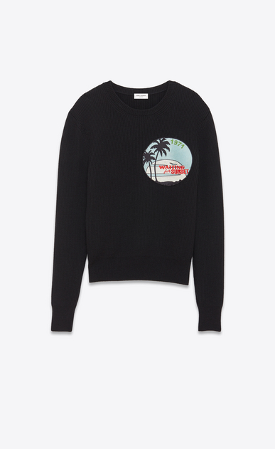 SAINT LAURENT Top Tricot Uomo Maglione Sailor con patch SUNSET nero a costine a_V4