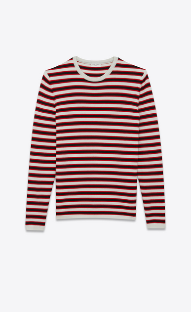 SAINT LAURENT Knitwear Tops U Sailor sweater with black and red stripes a_V4
