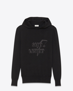 SAINT LAURENT Top Sportivi U SAINT LAURENT hoodie with zipper in black jacquard and mottled gray f