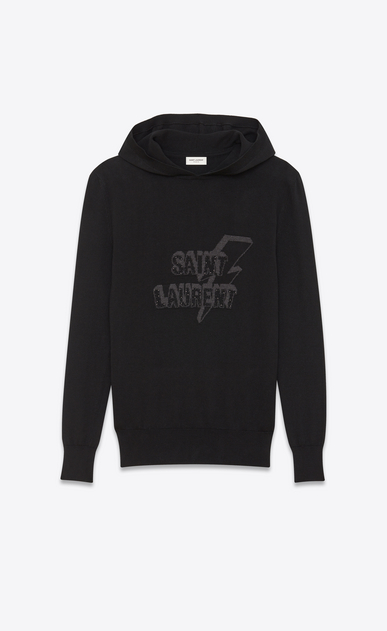 SAINT LAURENT Sportswear Tops Man SAINT LAURENT hoodie with zipper in black jacquard and mottled gray a_V4
