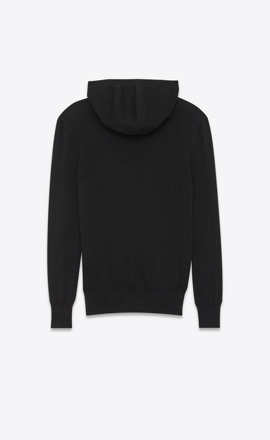 SAINT LAURENT Sportswear Tops U SAINT LAURENT hoodie with zipper in black jacquard and mottled gray b_V4