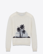 SAINT LAURENT Knitwear Tops U SUNSET sweater in off-white and black mohair f