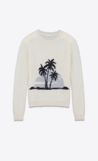 SAINT LAURENT Knitwear Tops Man SUNSET sweater in off-white and black mohair a_V4