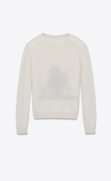 SAINT LAURENT Knitwear Tops Man SUNSET sweater in off-white and black mohair b_V4