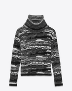 SAINT LAURENT Knitwear Tops U Roll neck sweater in a black, white and gray patchwork-look knit f