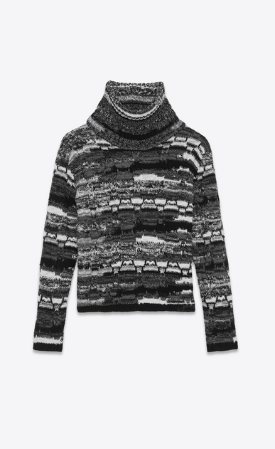 SAINT LAURENT Knitwear Tops Man Roll neck sweater in a black, white and gray patchwork-look knit a_V4