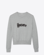 SAINT LAURENT Knitwear Tops U Light gray and black sailor sweater embroidered with HEAVEN f