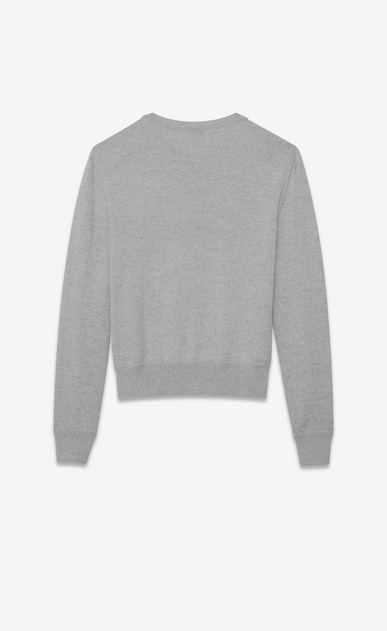 SAINT LAURENT Knitwear Tops Man Light gray and black sailor sweater embroidered with HEAVEN b_V4
