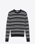 SAINT LAURENT Knitwear Tops U Round neck sweater in black and white striped knit f