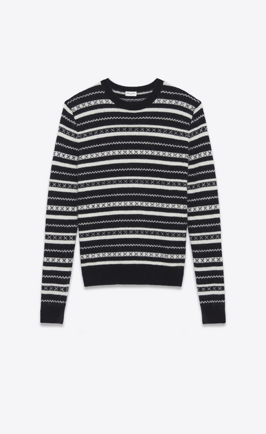 SAINT LAURENT Knitwear Tops Man Round neck sweater in black and white striped knit a_V4