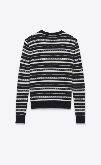 SAINT LAURENT Knitwear Tops Man Round neck sweater in black and white striped knit b_V4