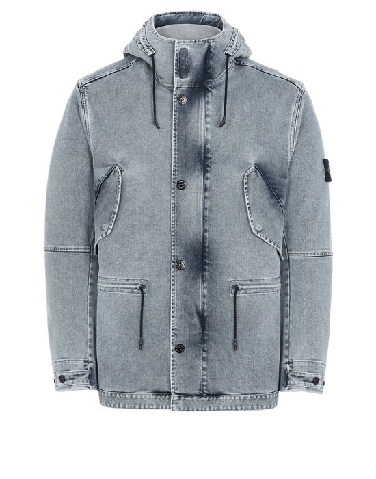 STONE ISLAND Manteau en jean 45133 FOAM RESIN TREATED DENIM_BLEACH