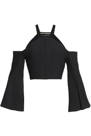 ROLAND MOURET Paneled stretch-ponte and cloqué vest