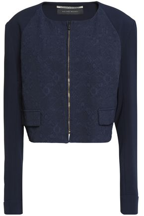 ROLAND MOURET Jacquard and crepe jacket