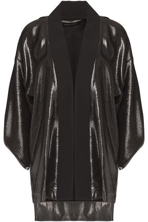 ROLAND MOURET Cold-shoulder textured-lamé jacket