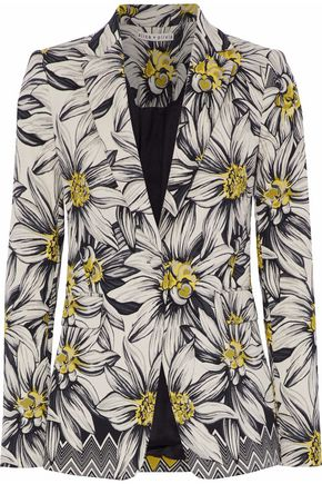 ALICE+OLIVIA Cotton-blend floral-jacquard blazer
