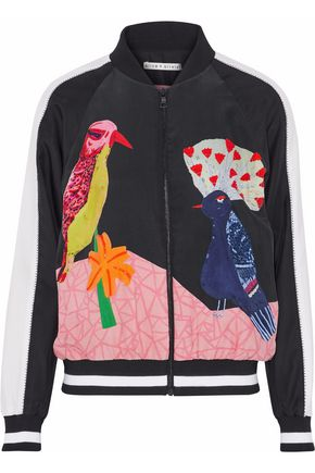 ALICE + OLIVIA Bead-embellished printed silk bomber jacket