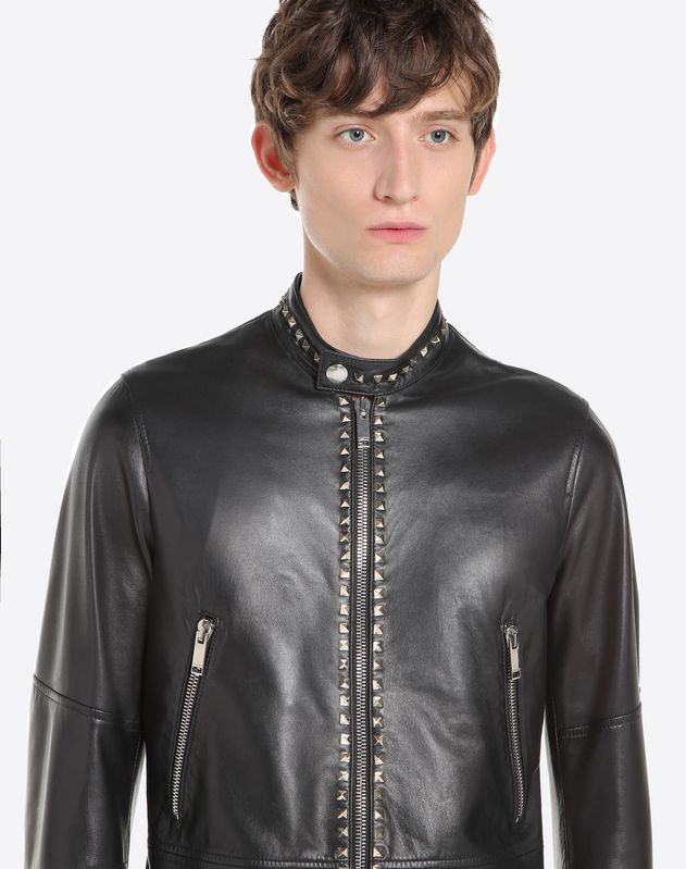 Rockstud Untitled leather biker jacket