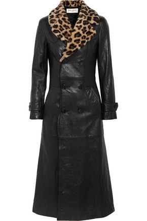 SAINT LAURENT Leopard-print shearling-trimmed leather coat