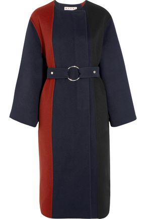MARNI Paneled brushed wool, angora and cashmere-blend coat