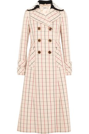 MIU MIU Guipure lace-trimmed checked wool coat