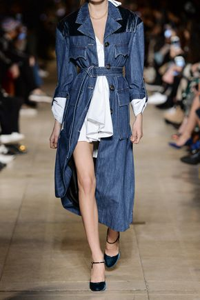 MIU MIU Velvet-paneled denim coat