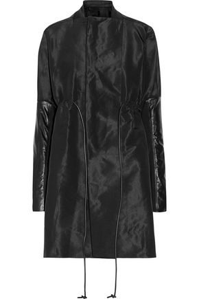RICK OWENS Leather-trimmed faille coat