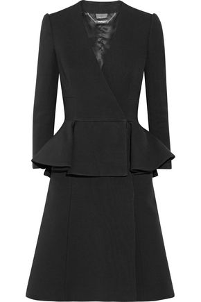 ALEXANDER MCQUEEN Double-breasted wool and silk-blend peplum coat