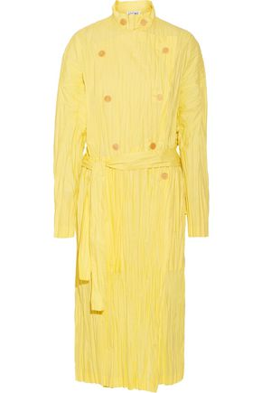 Crinkled cotton-blend poplin trench coat
