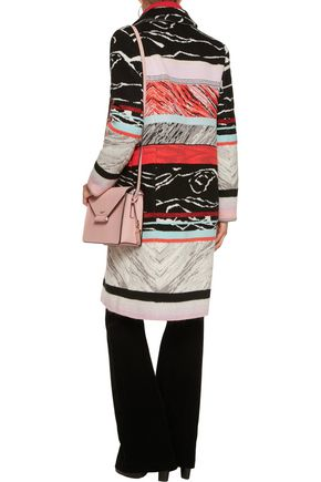 MISSONI Striped crochet-knit wool-blend coat