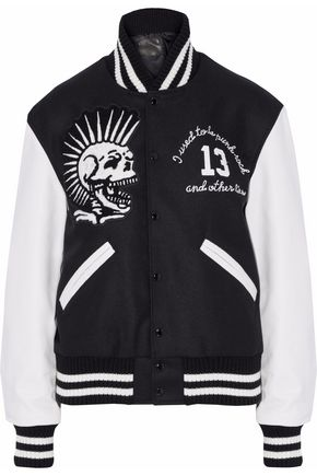 R13 Appliquéd wool-blend felt and leather bomber jacket