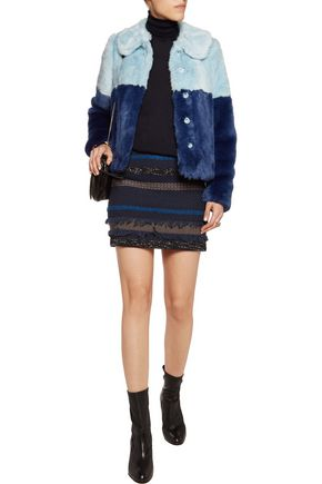 ALICE + OLIVIA Damaris two-tone faux fur coat