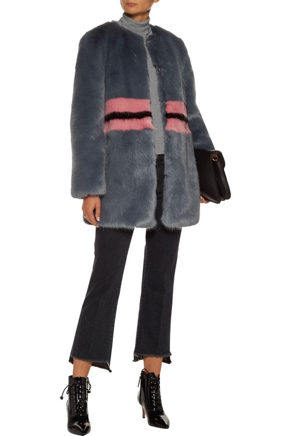 Agnes color-block faux fur coat | SHRIMPS | Sale up to 70% off | THE OUTNET