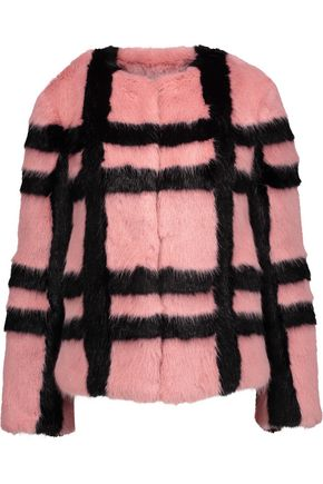 SHRIMPS Gustav checked faux fur coat
