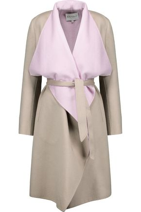 VIONNET Two-tone draped wool and angora-blend coat