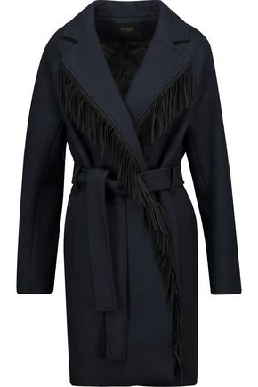 MAJE Belted fringed wool-blend felt coat