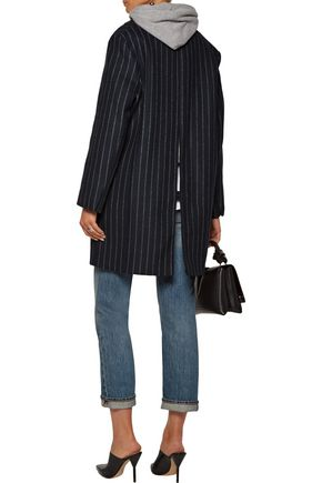 SANDRO Gaby striped wool-blend coat