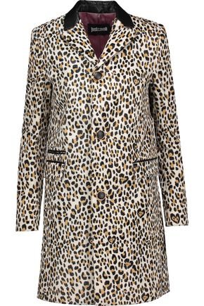 JUST CAVALLI Faux leather-trimmed leopard-print faux fur coat