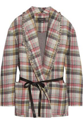ISABEL MARANT Milroy embellished plaid linen and wool-blend coat