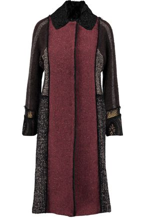 ETRO Jacquard-trimmed patchwork wool-blend coat