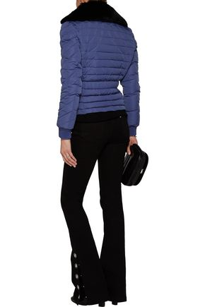JUST CAVALLI Faux fur-trimmed quilted shell coat