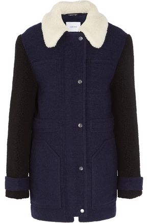 CARVEN Faux shearling-trimmed wool-blend felt coat